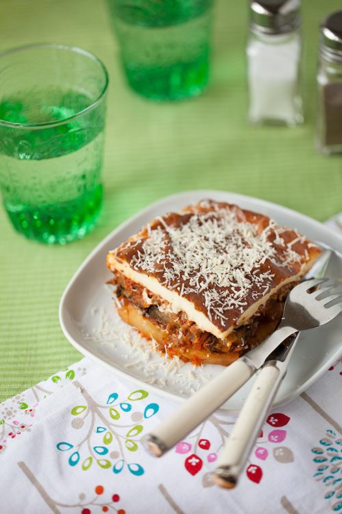 Greek Vegetarian: Vegetarian Moussaka (with vegetable protein)