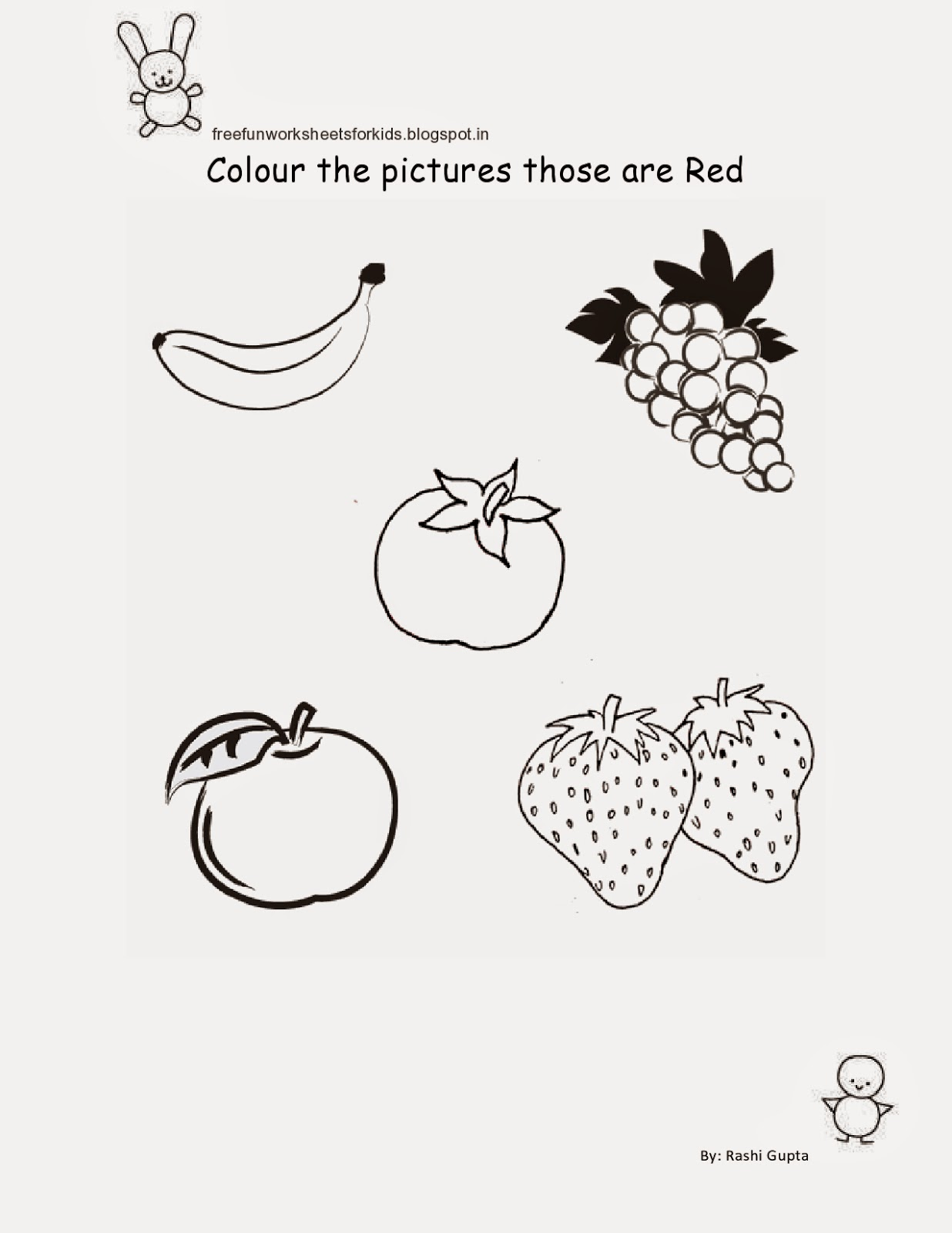 Worksheets Worksheets For Nursery free fun worksheets for kids printable class nursery colour the pictures according to colour