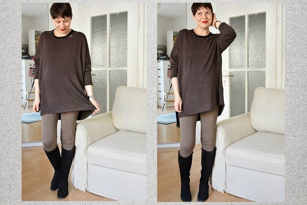 Colour mix, mix black and blown, Leggings Calzedonia, Gabor boots