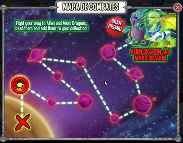 mapa de combates de la isla alienigena de dragon city