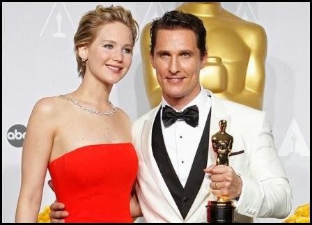 Jennifer Lawrence y Matthew McConaughey, Oscar 2014