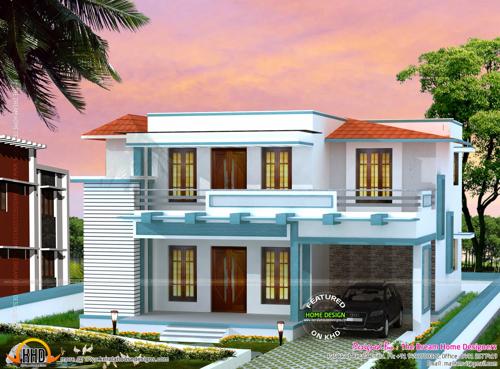 1700 sq feet 3d house elevation and plan kerala home for 3d home