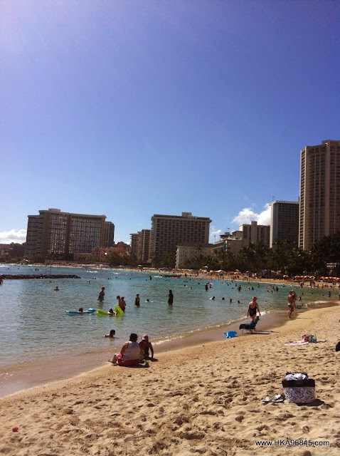Lounging on Waikiki beach