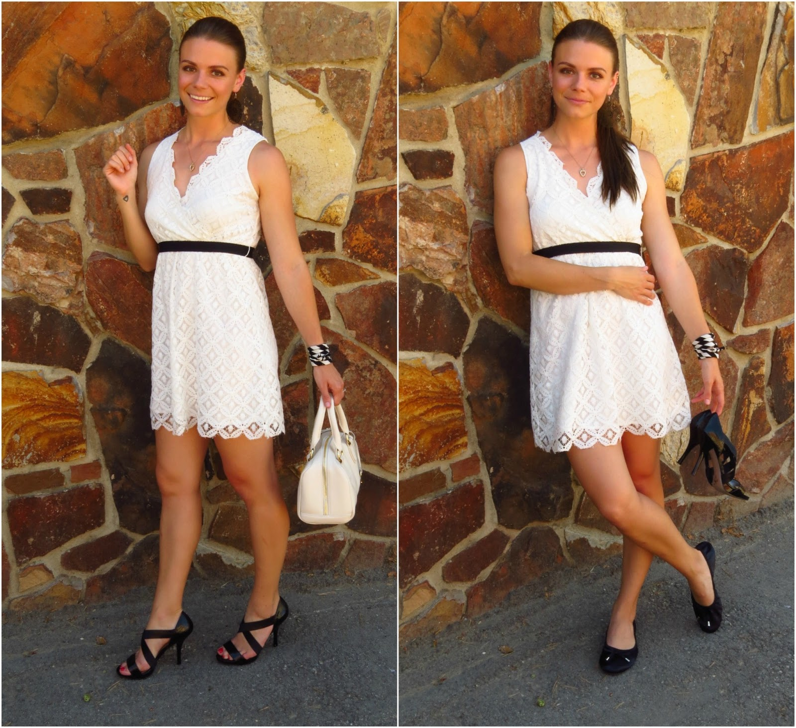 White Lace Dress and Flats