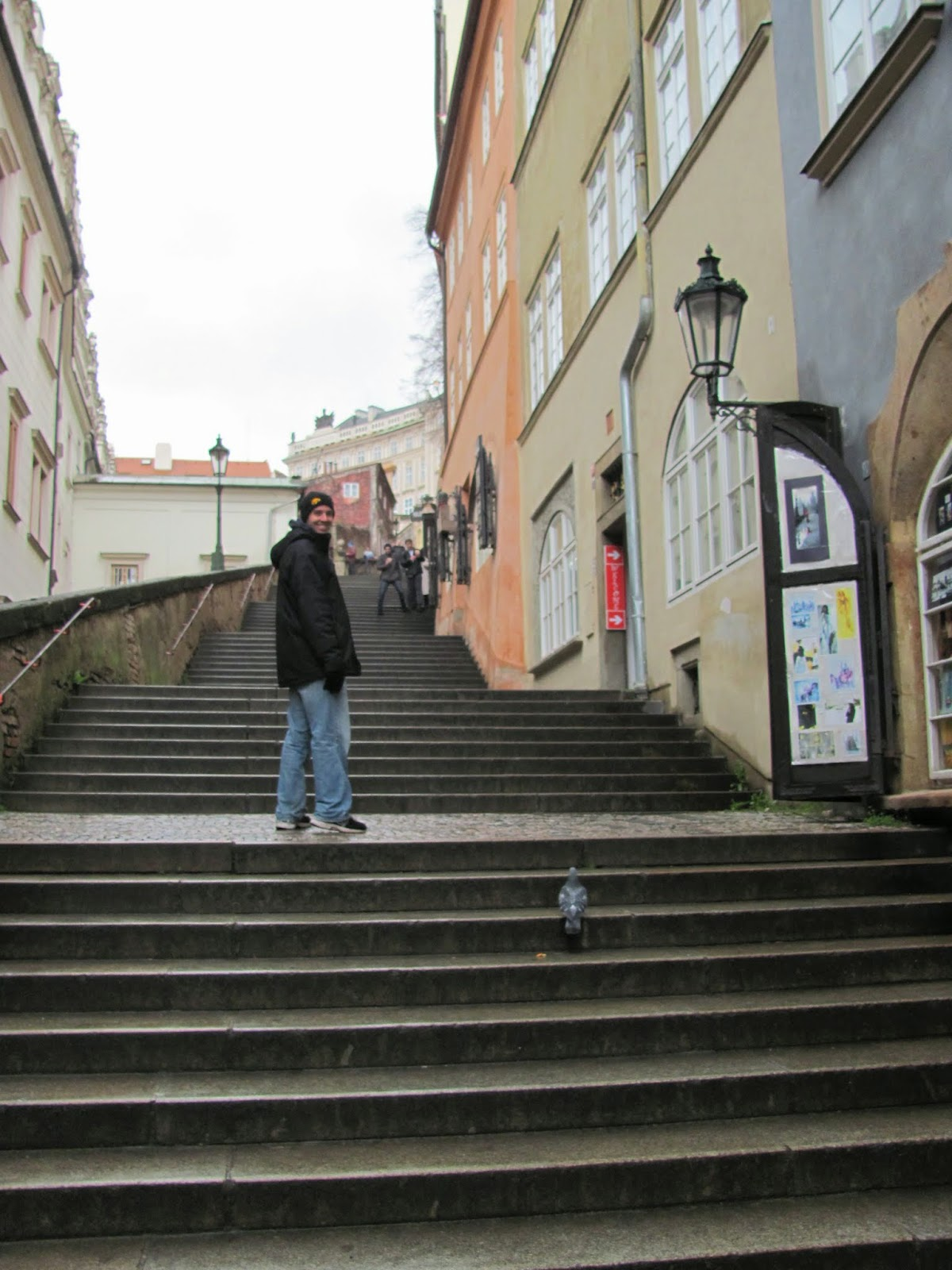 Cory Climbing the Steps to Prague Castle