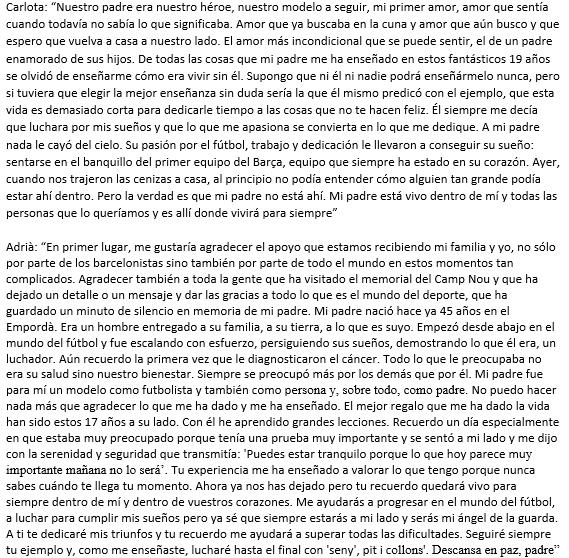 InfoDeportiva - Cartas de Carlota y Adrià Vilanova a su padre Tito