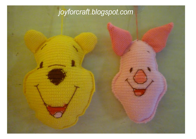 crochet cute mini disney Pooh and Piglet Pillow patterns