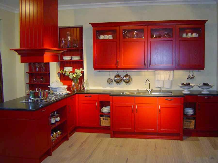 desain cat dapur warna merah modern