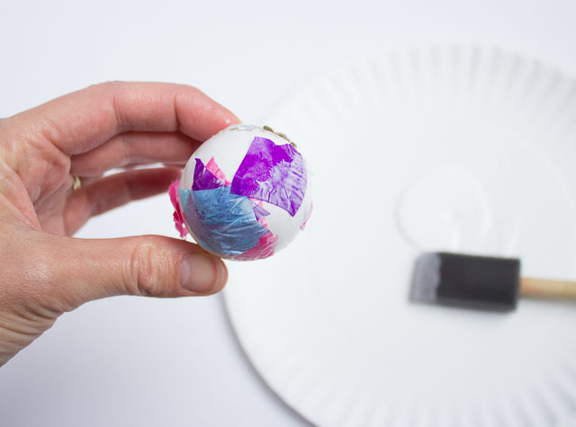 Tissue paper Easter eggs - modern and chic, yet easy enough for a preschooler to do!