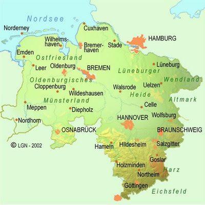 karte der provinz von niedersachsen karte von deutschland stadt regionalen politisch. Black Bedroom Furniture Sets. Home Design Ideas