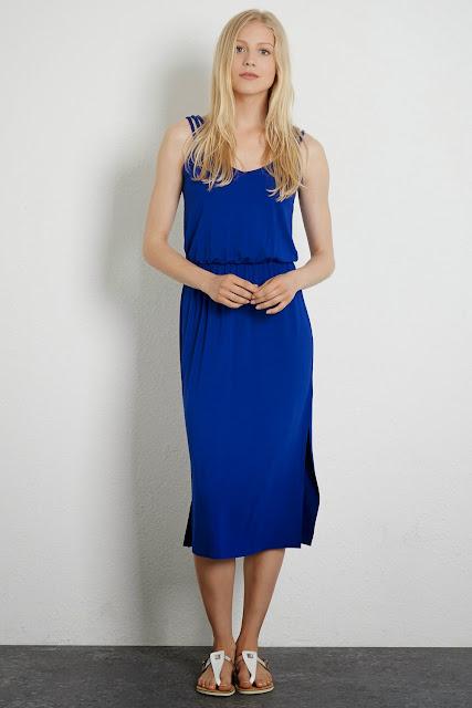 blue strappy midi dress, warehouse blue dress,