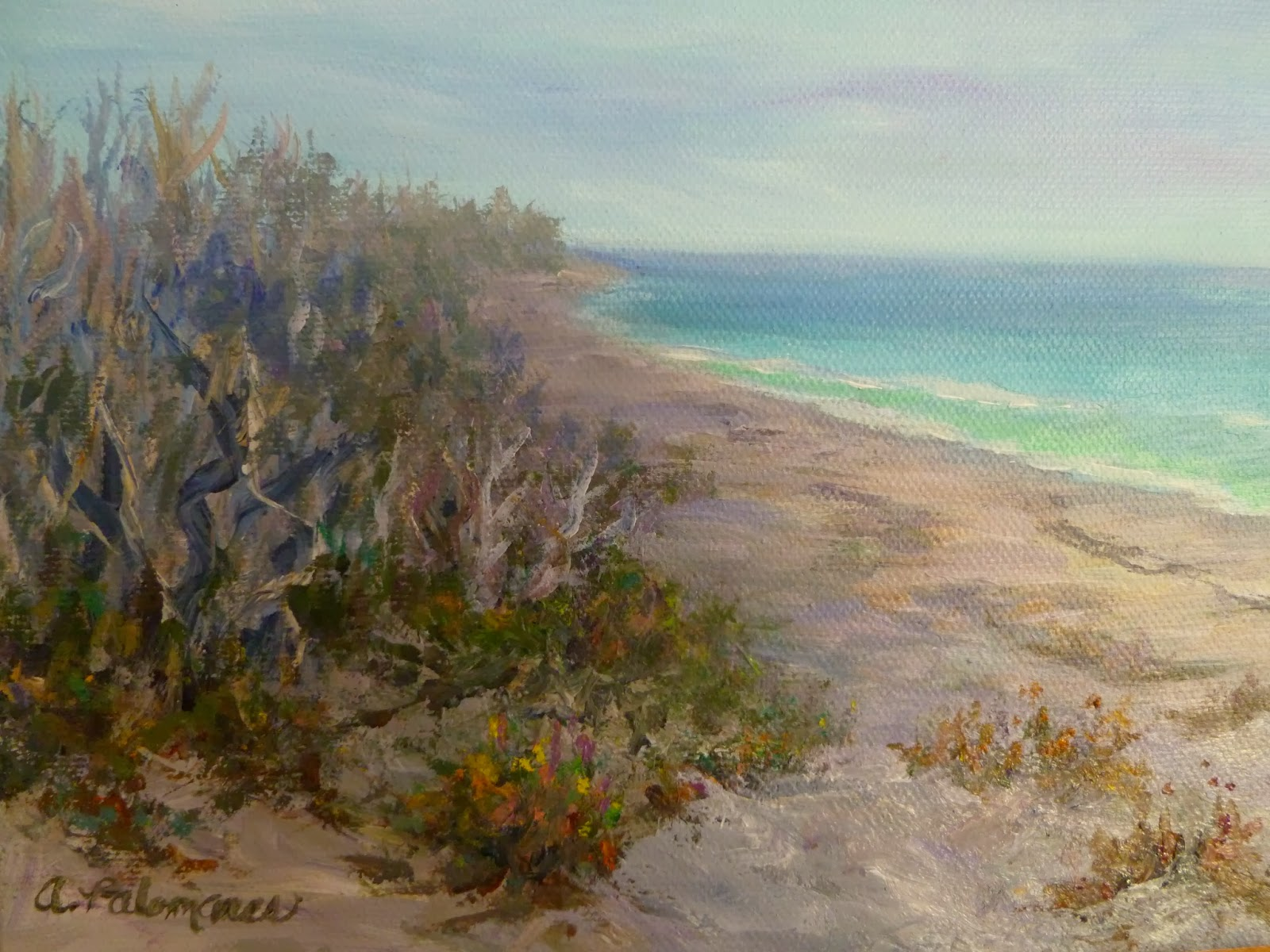 Painting of beach at MacArthur State Park