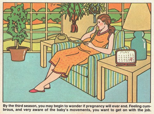 ismoyo's vintage playground: Planned Pregnancy Activities and the Reality. Third trimester pregnancy illustration from 1980 Parents Expecting magazine