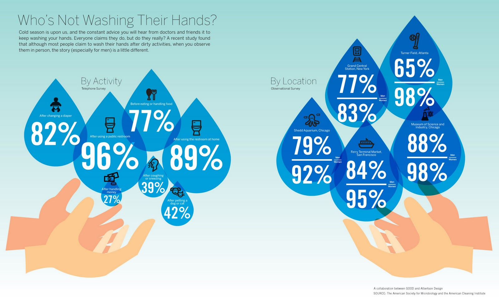 Beautiful lies - infographics inspirations: who is not washing hands?