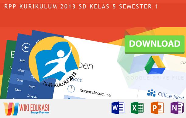 RPP KURIKULUM 2013 SD KELAS 5 SEMESTER 1 Hasil Revisi Terbaru 2015