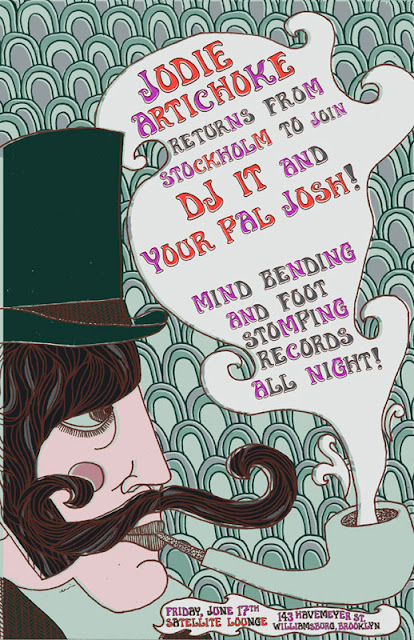 Artist Erin Klauk new poster for a DJ night at the Satellite Lounge in Williamsburg, Brooklyn. The Satellite Lounge is a neighborhood bar in the Williamsburg section of Brooklyn.