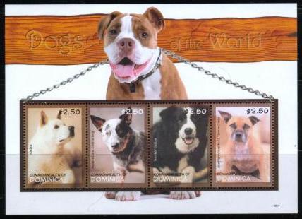 2009年ドミニカ国 秋田犬 オーストラリアン・キャトルドッグ ボーダー・コリー スタッフォードシャー・ブル・テリアの切手シート