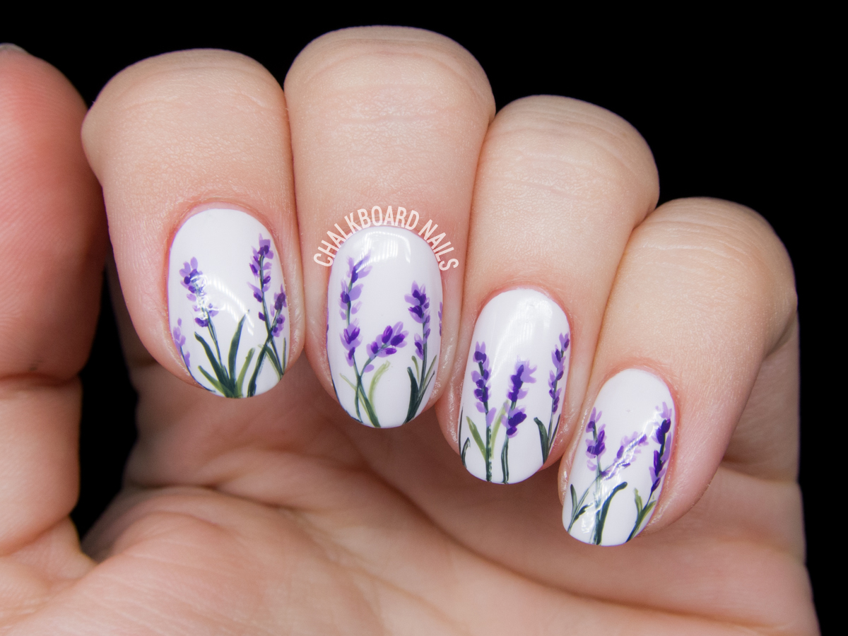 Lavender Blossoms Floral Nail Art | Chalkboard Nails | Nail Art Blog