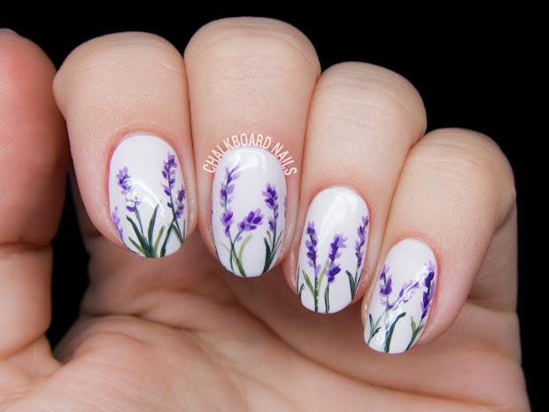 lavender blossoms floral nail art