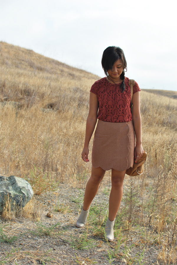 lace and wool outfit