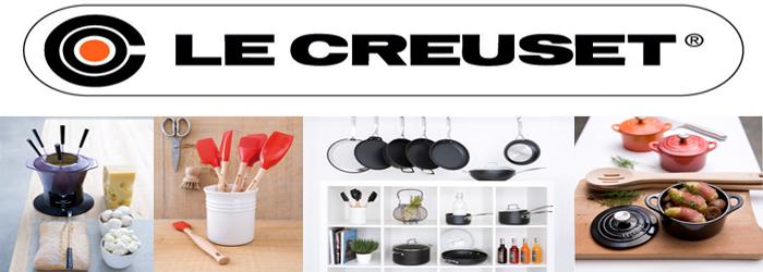 Banner de publicidad en el que se observan diferentes articulos de menaje de la marca Le Creuset.