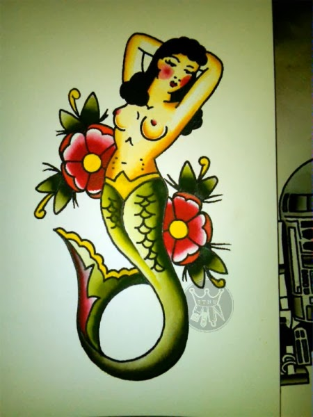 Sunk by a whale traditional american for Traditional mermaid tattoo