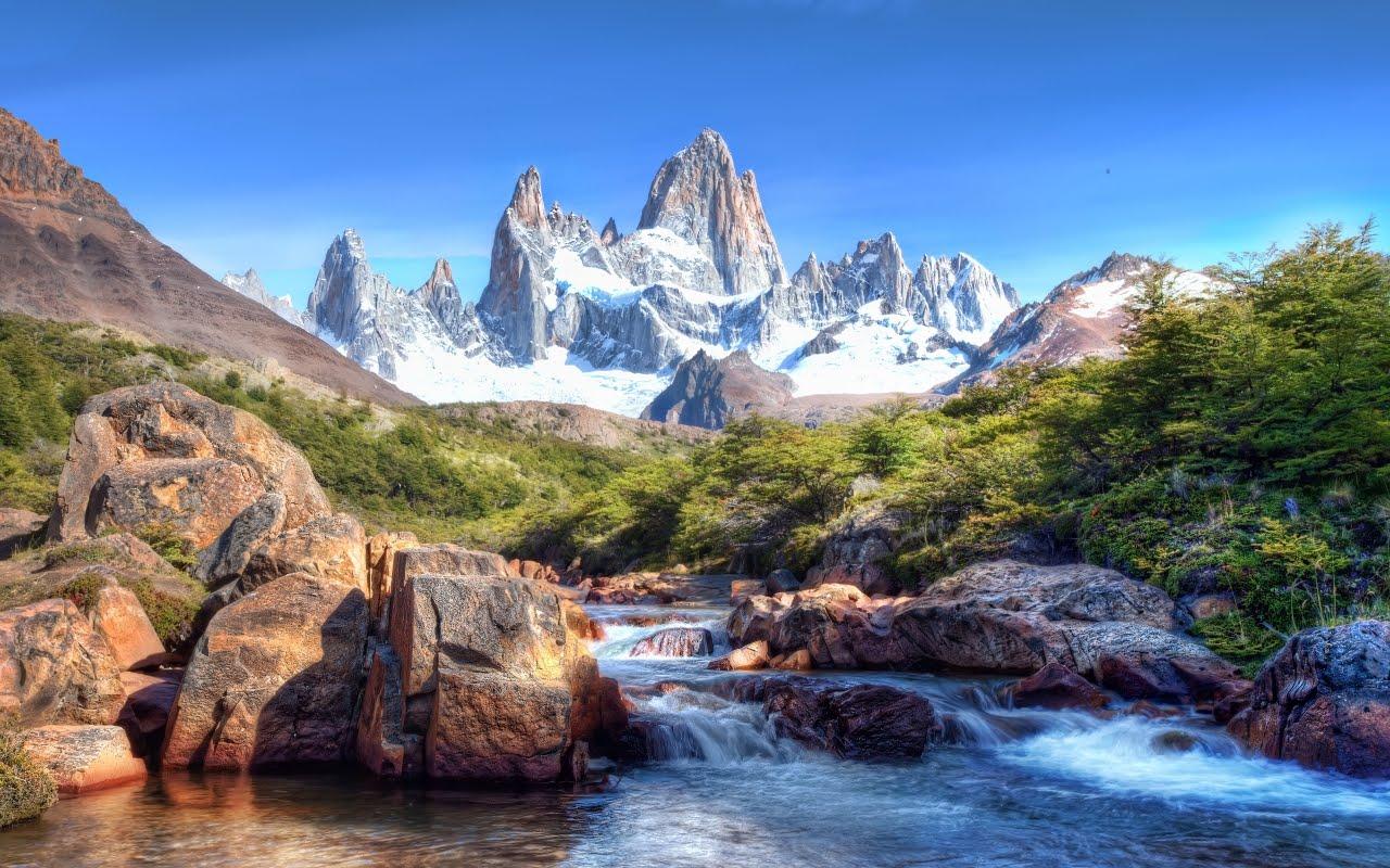 Планина и река - HDR, HD Wallpaper