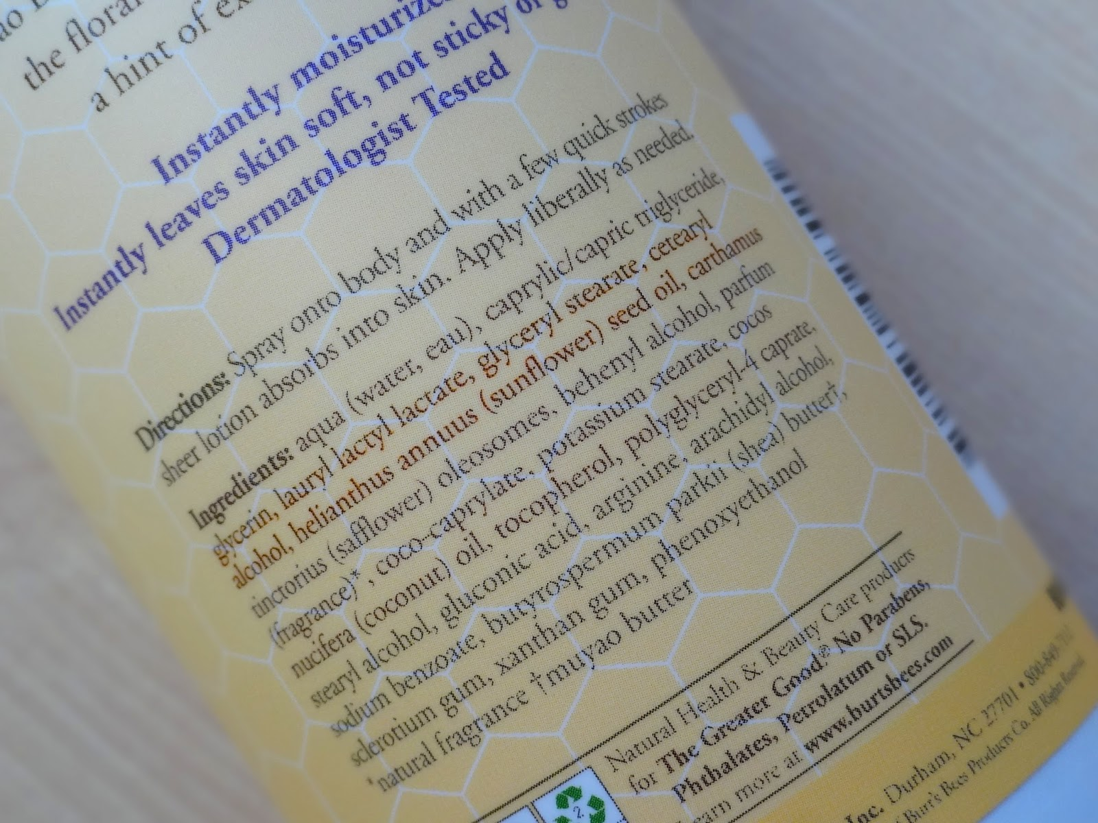 Burt's Bees Violet & Mango Sheer Body Lotion Ingredients