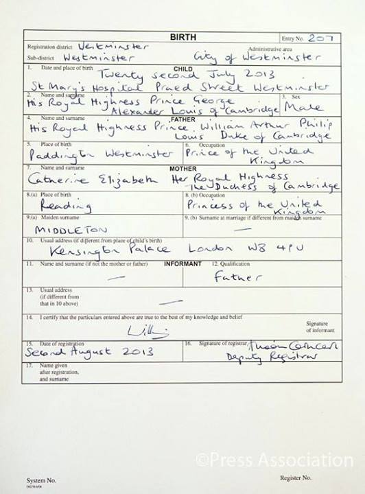 prince george of cambridge's birth certificate