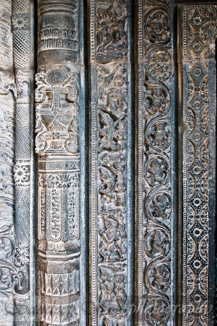 The door jamb of Suryanarayana temple with five layers of sculptures