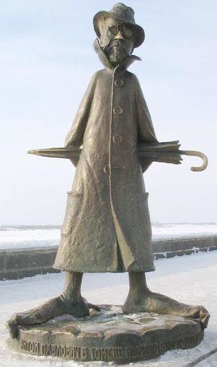 Monumento de Antón Pávlovich Chéjov de tipo caricatura