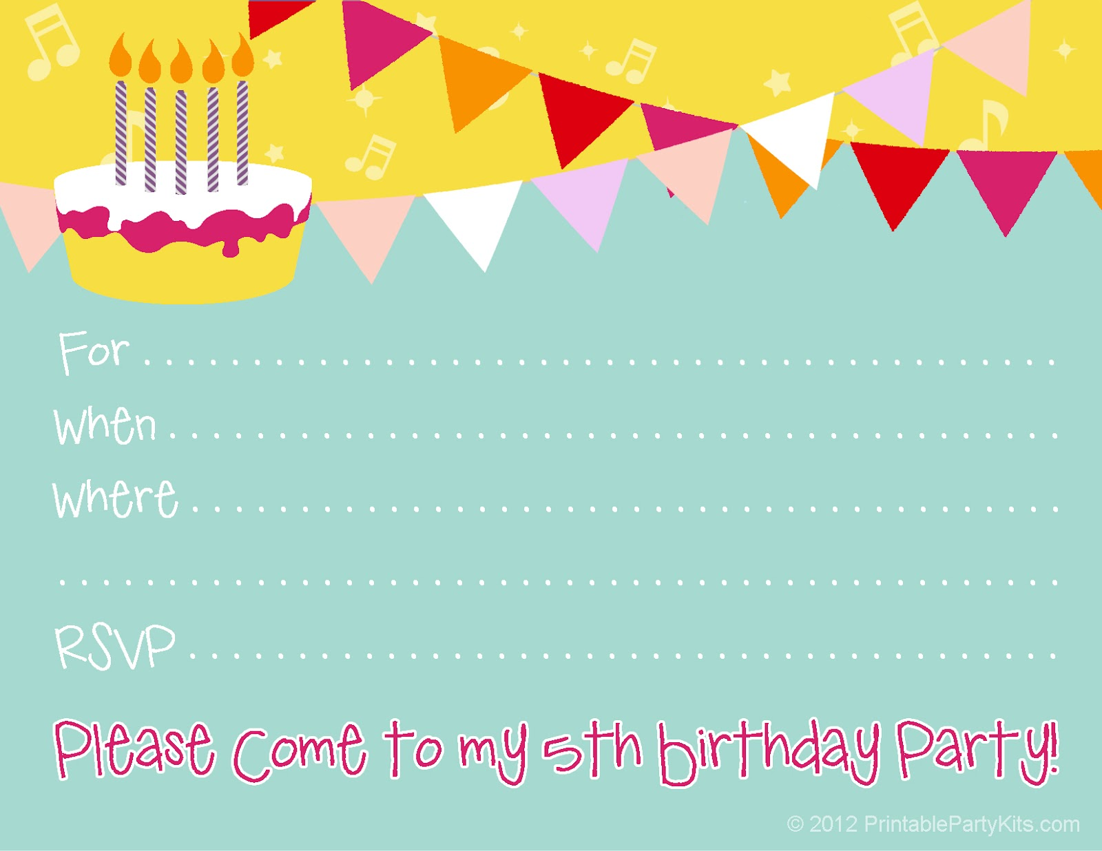 birthday party invite templates printable th birthday party invitations printable invite for a 5th birthday party