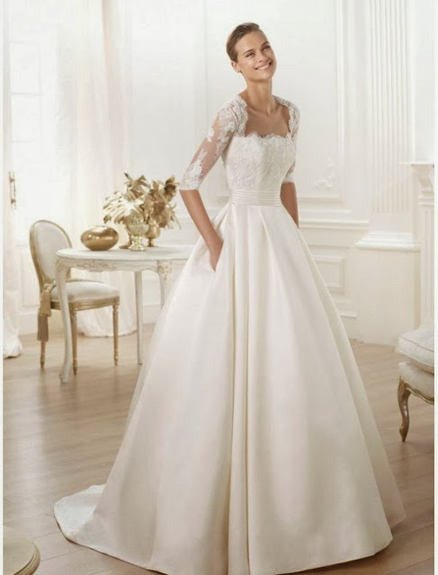 half sleeves wedding dresses