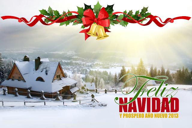 Casa llena de Nieve Feliz Navidad y Prospero Año nuevo 2013