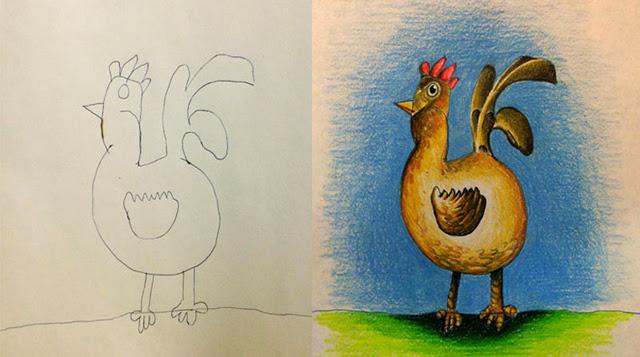 niños dejan que su papá de color a sus dibujos