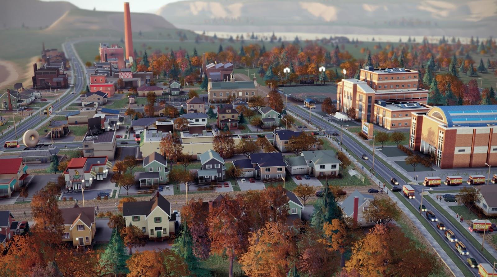 Пригородная школа в SimCity - вид сбоку