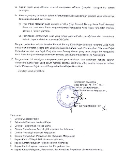 Pengumuman nomor PENG-06/PJ.02/2015 tentang Penegasan ATas e-Faktur