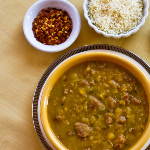 ... Spicy Yellow Split Pea Soup with Italian Sausage and Green Pepper