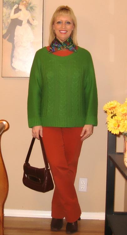 green sweater orange pants