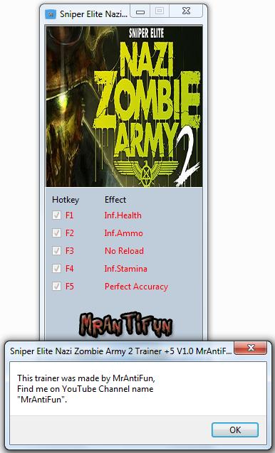 Sniper Elite Nazi Zombie Army 2 Trainer +5 V1.0 MrAntiFun