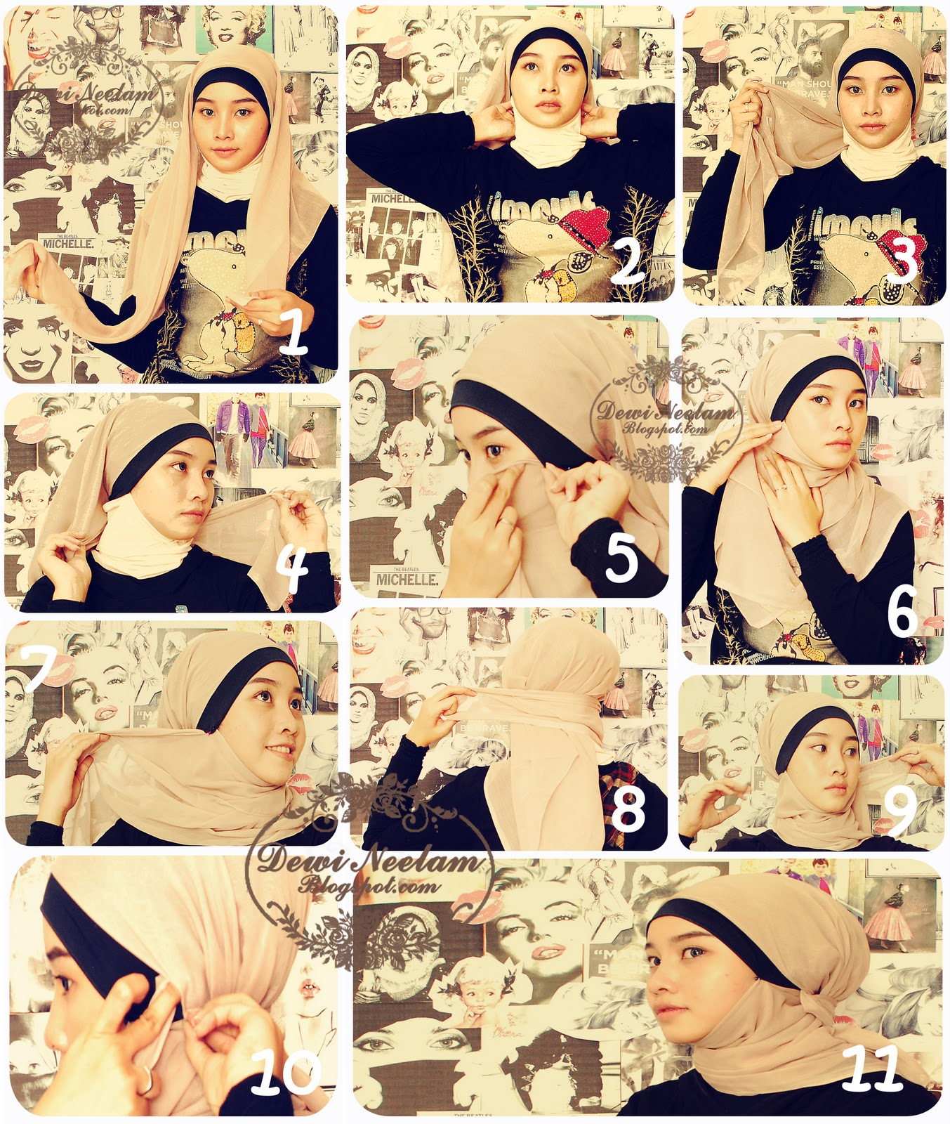 set of Hijab Tutorial Practical and Stylish  Tutorial Hijab Zaskia