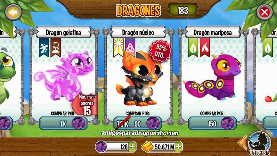 imagen de la oferta del dragon nucleo en dragon city mobile