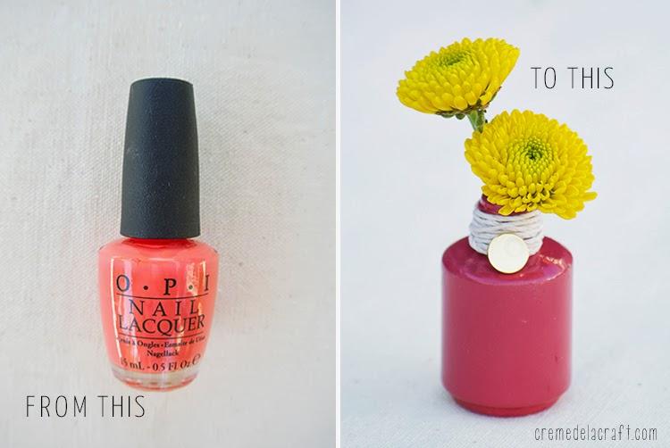 Diy Flower Bud Vases From Nail Polish Bottles