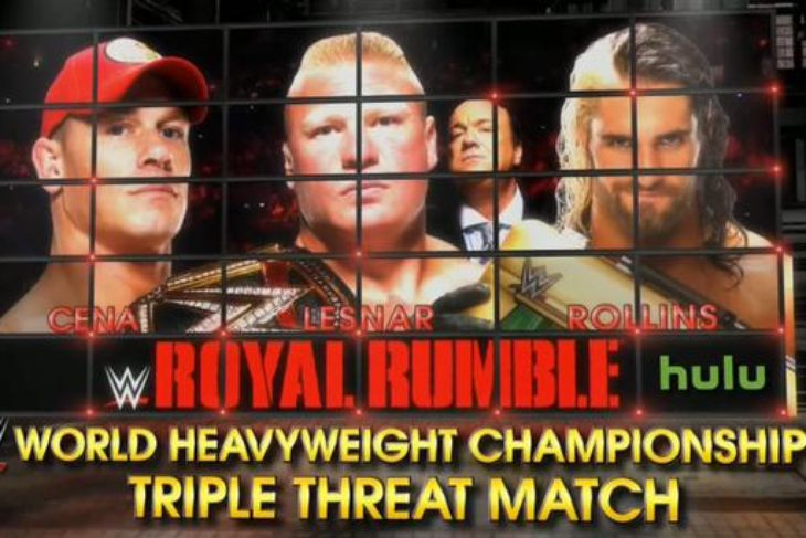John Cena vs Brock Lesnar vs Seth Rollins Royal Rumble 2015 PPV