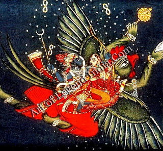 Vishnu with his consort Lakshmi on Garuda, the eagle