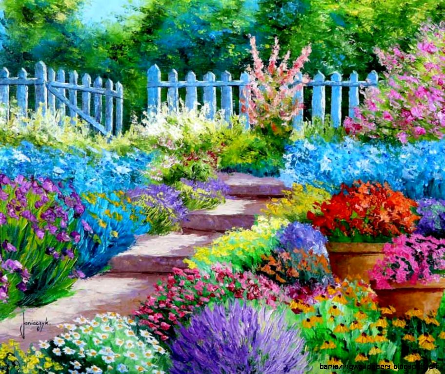 French Garden Wallpaper