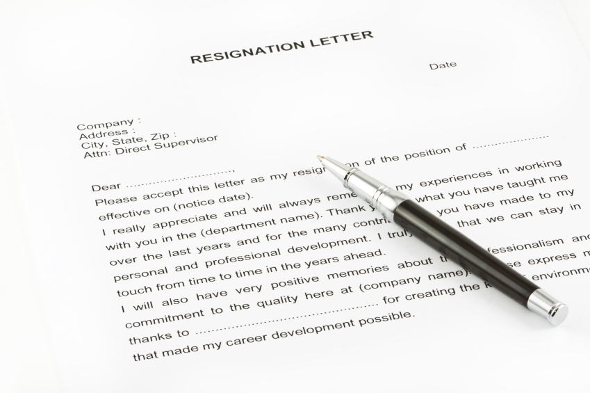 what to write when resigning from a job