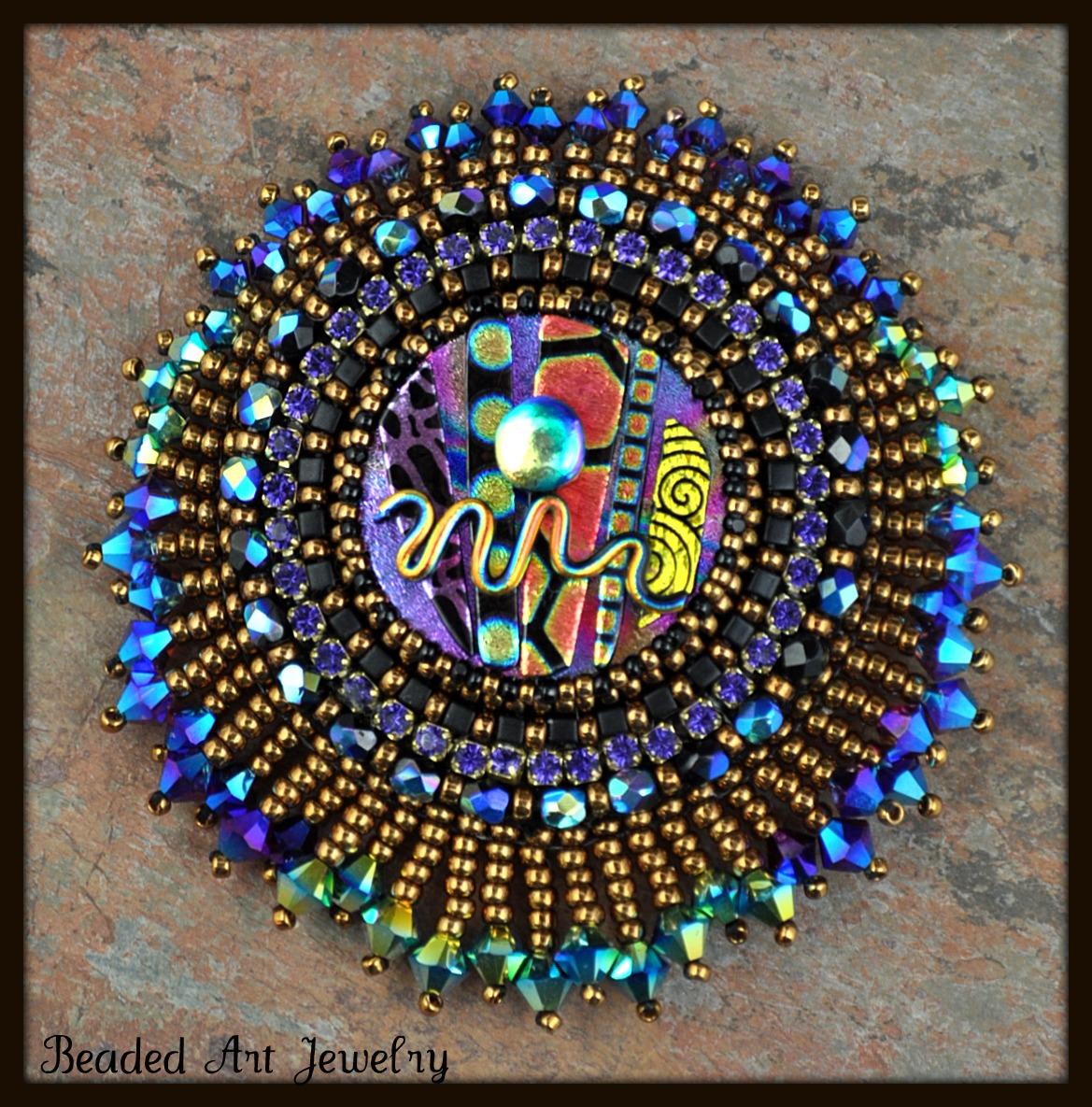 Brooch Beads: Beaded Art Jewelry: Midnight Sun Brooch