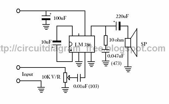 electronic circuit diagrams  lm386 ic audio amplifier