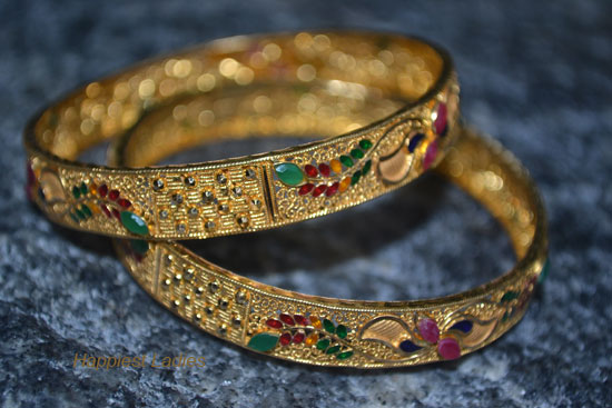 Ruby-Emerald-gold-Bangle-cross-view-+--24k-gold